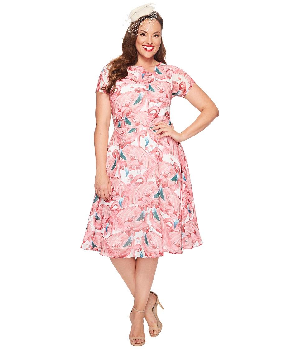 Unique Vintage - Plus Size Chiffon Dress (Flamingo) Women's Dress