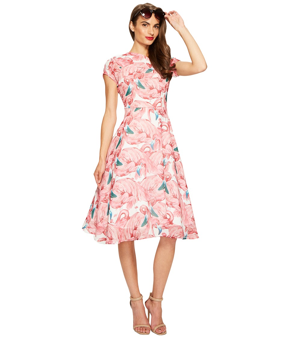 Unique Vintage - Chiffon Dress (Flamingo) Women's Dress