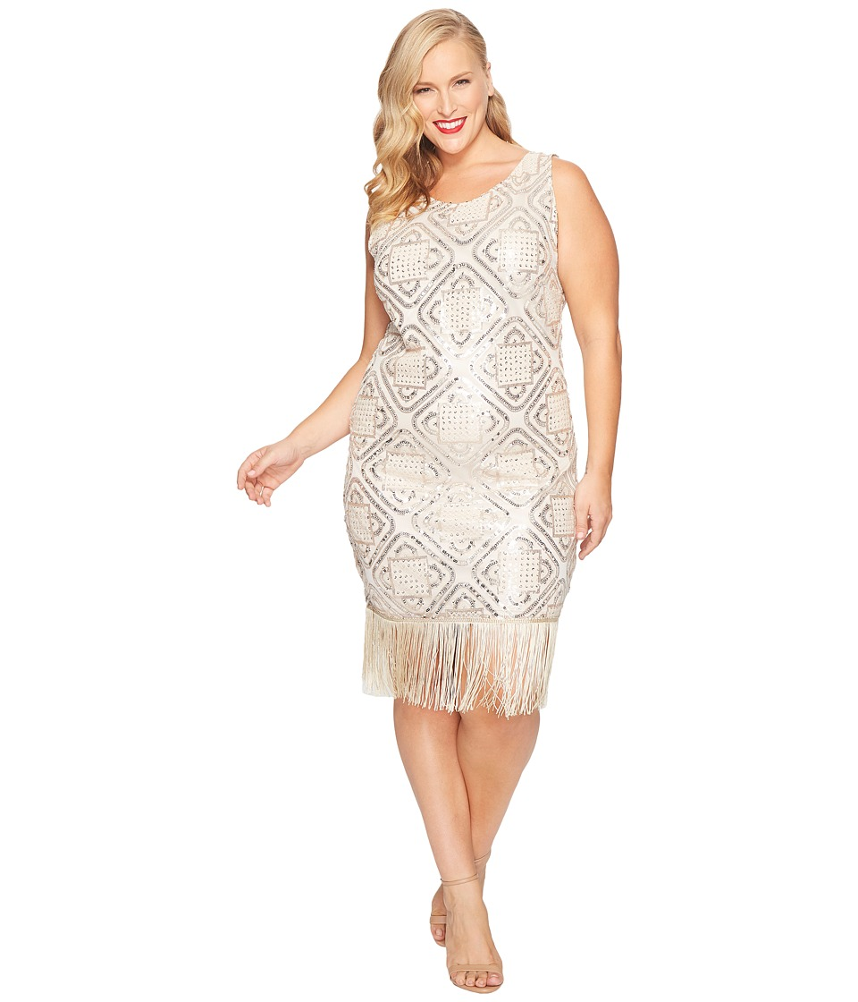 Unique Vintage - Plus Size Flapper Dress (Champagne) Women's Dress