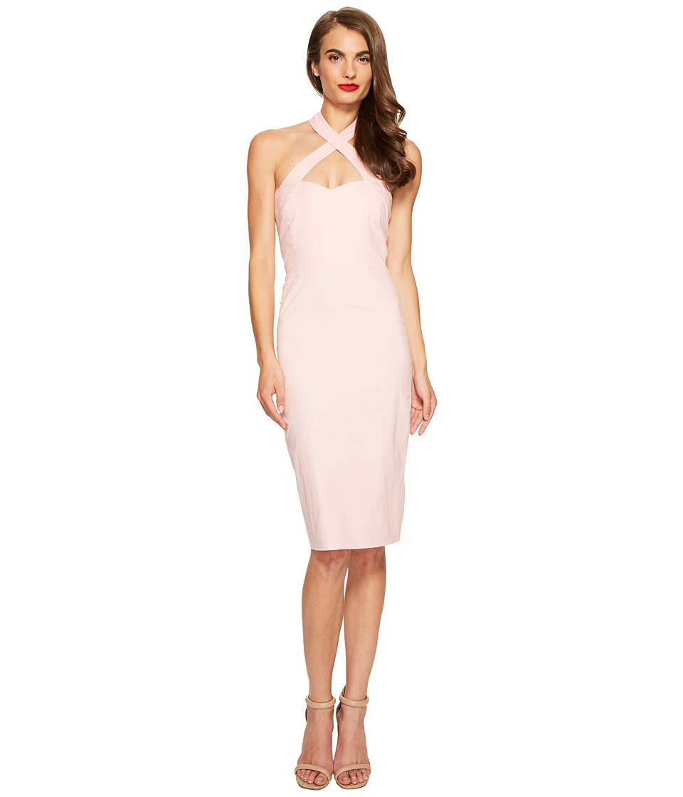 Unique Vintage Crisscross Halter Penelope Wiggle Dress (Pink) Women