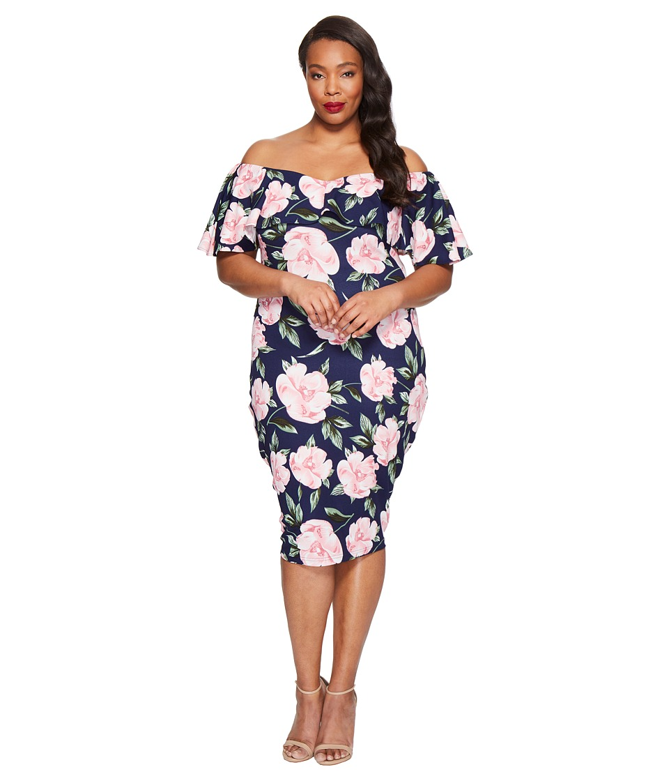 Unique Vintage - Plus Size Ruffled Dress (Navy Floral) Women's Dress