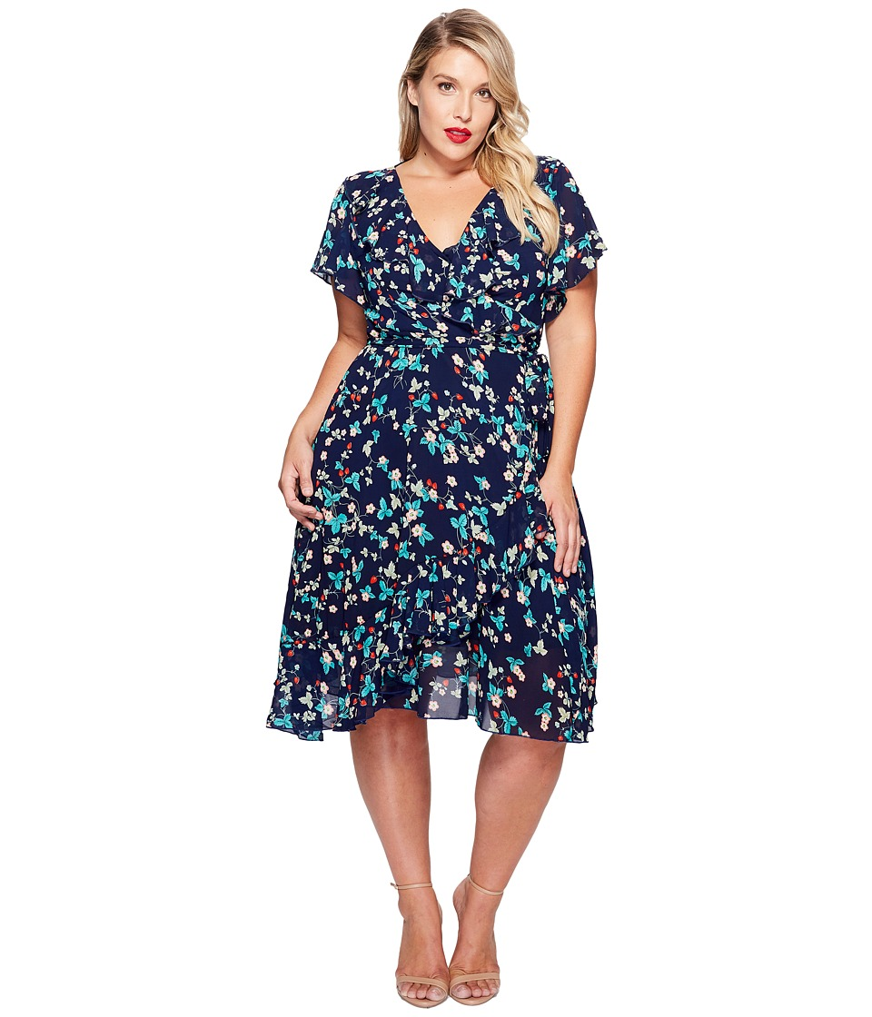 Unique Vintage - Plus Size Wrap Dress (Strawberry Print) Women's Dress