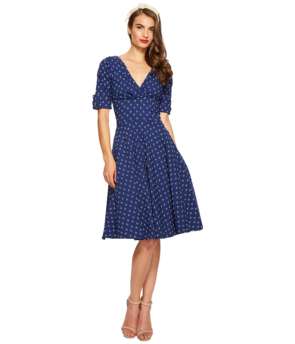 Unique Vintage - Stretch Novelty Delores Dress (Anchor Print) Women's Dress
