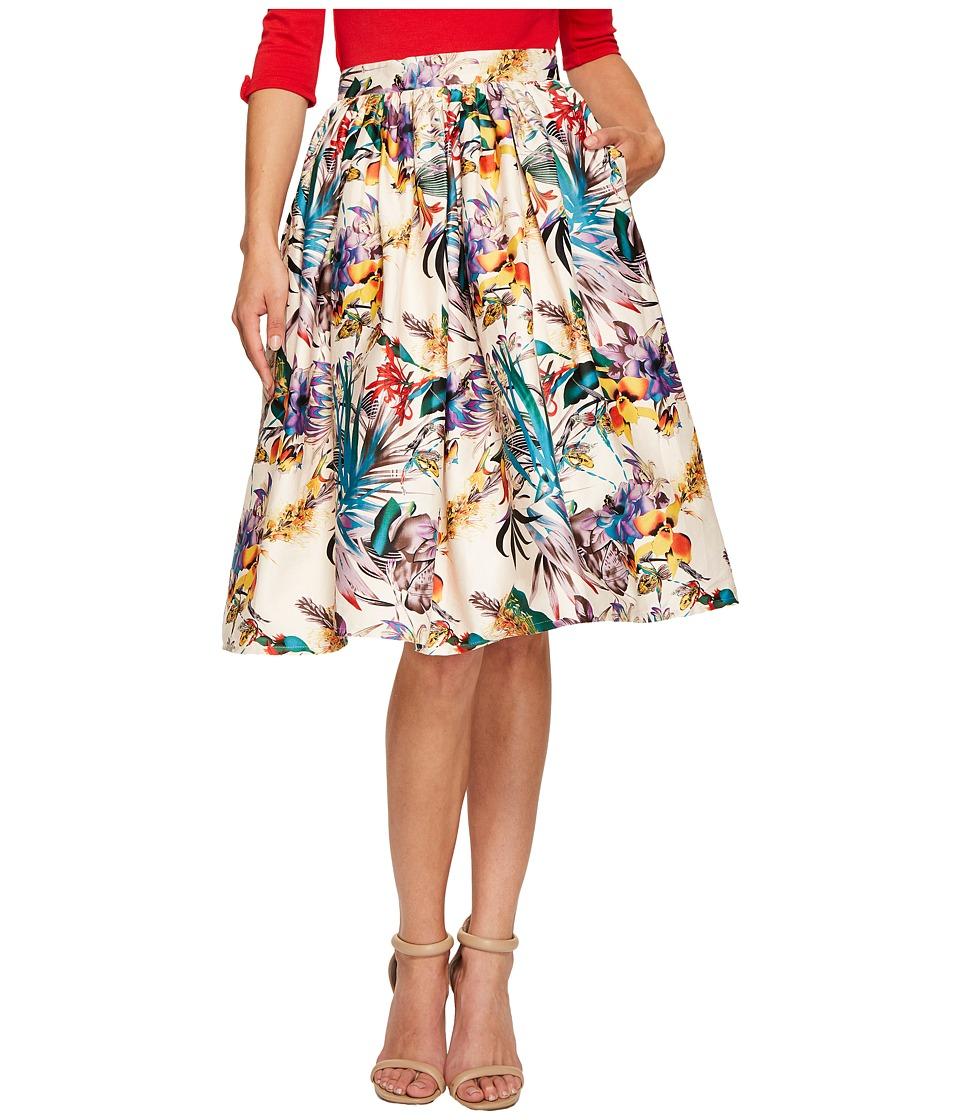 Unique Vintage - Swing Skirt (Cream Floral) Women's Skirt