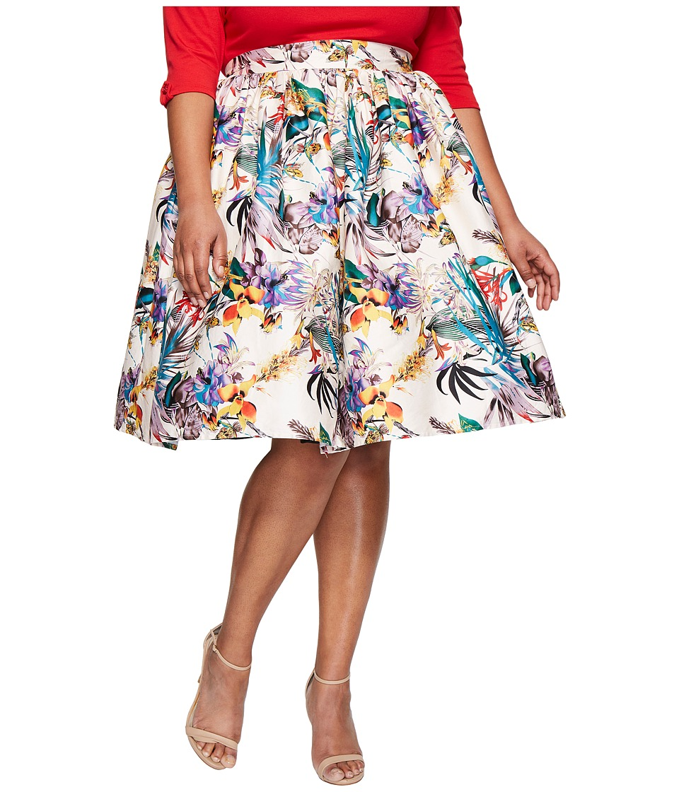 Unique Vintage - Plus Size Swing Skirt (Cream Floral) Women's Skirt