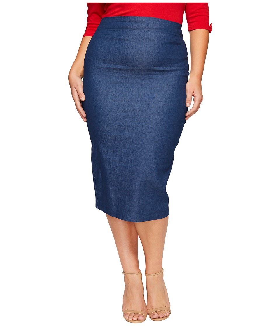 Unique Vintage - Plus Size Pencil Skirt (Denim) Women's Skirt