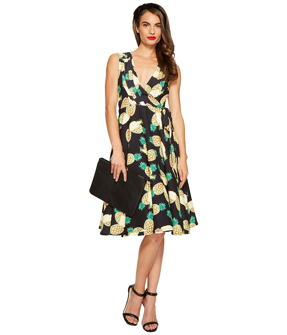 Unique Vintage Pineapple Wrap Dress (Black Print) Women