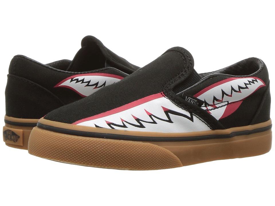 Vans Kids Classic Slip-On (Toddler) ((Bomber Face) Black/Gum) Boys Shoes