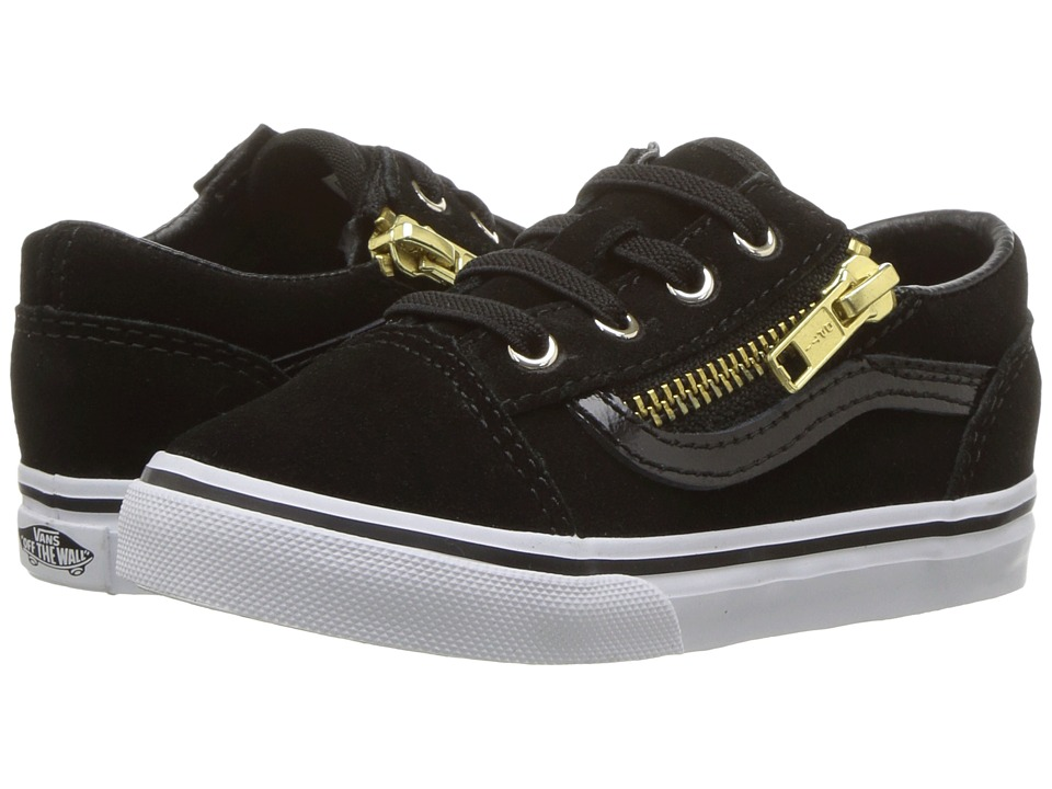 Vans Kids Old Skool Zip (Toddler) ((Suede) Black/Gold) Girls Shoes