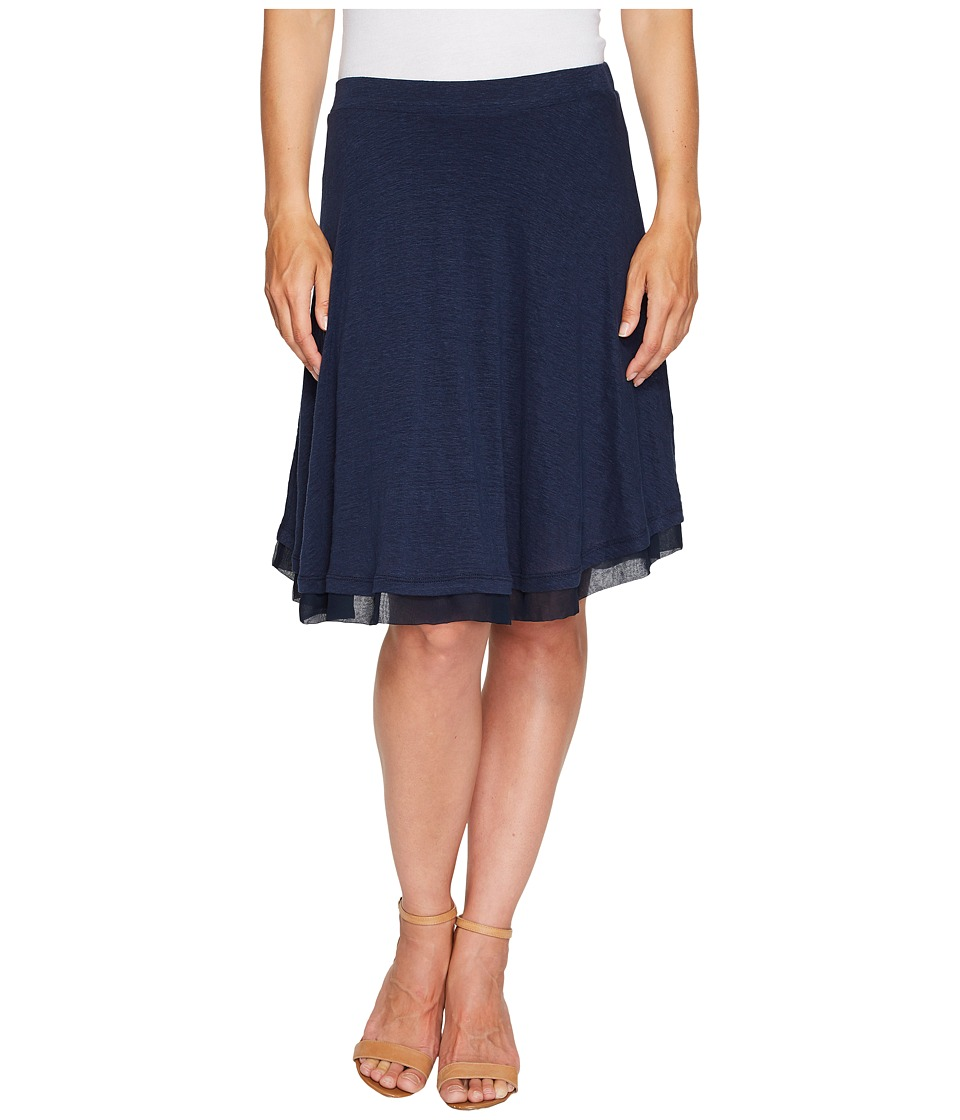 Three Dots - Linen Jersey Chiffon Trimmed Skirt (Night Iris) Women's Skirt