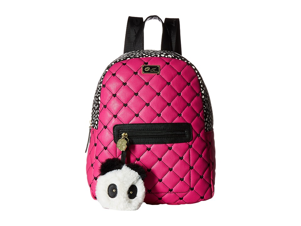 Luv Betsey - Demi PVC Backpack (Black/Fuchsia) Backpack Bags