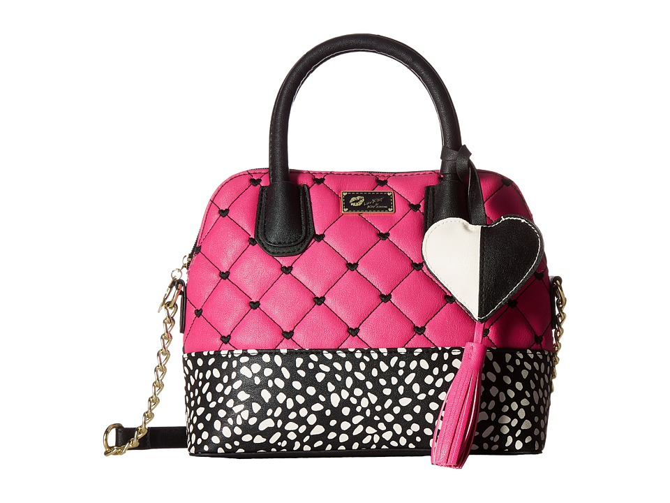 Luv Betsey - Dena PVC Crossbody (Black/Fuchsia) Cross Body Handbags