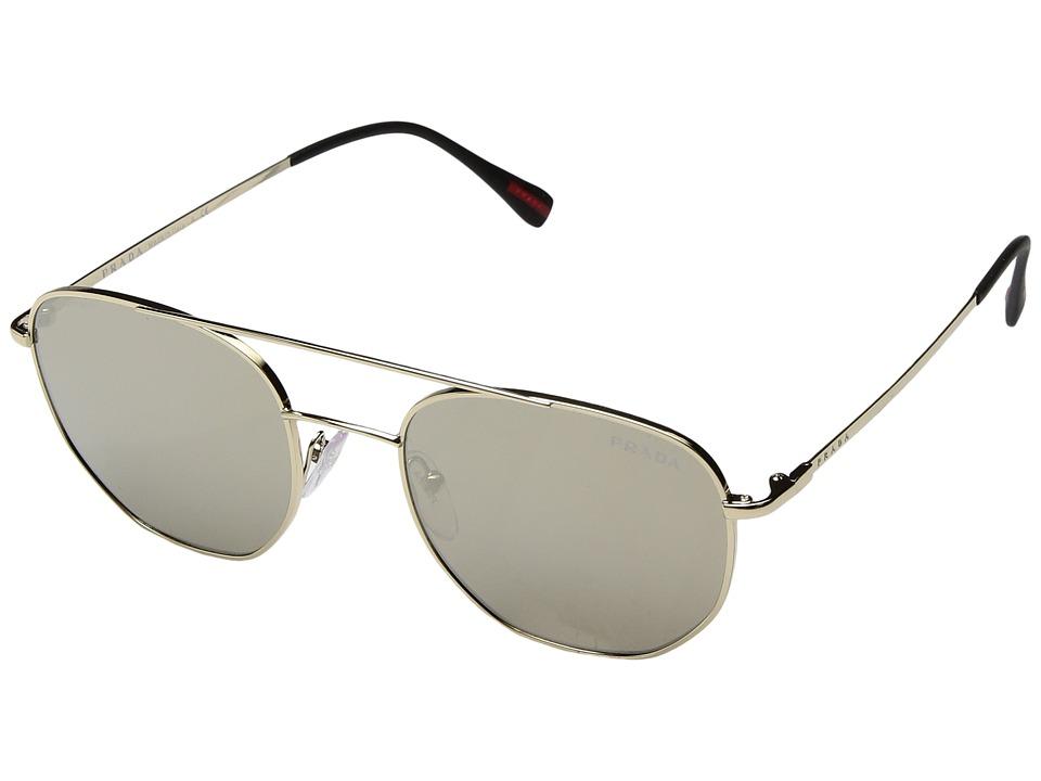 Prada Linea Rossa - 0PS 56SS (Pale Gold/Light Brown Mirror Gold) Fashion Sunglasses