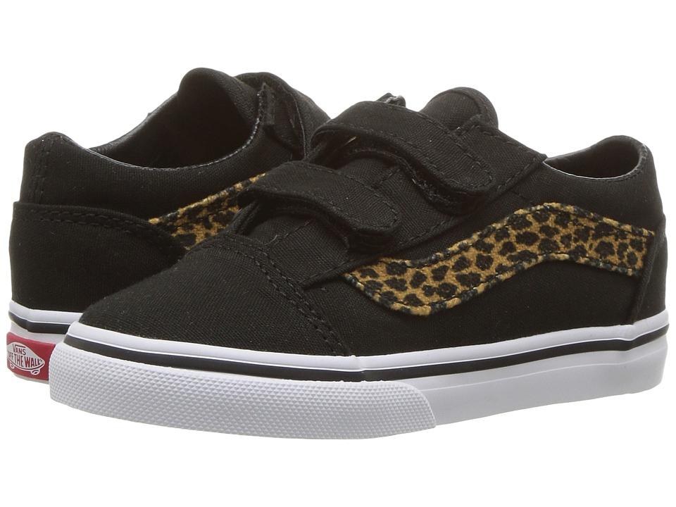 Vans Kids Old Skool V (Toddler) ((Mini Leopard) Brown/True White) Girls Shoes