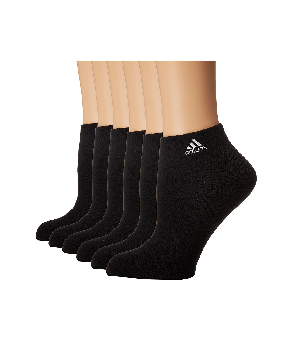 adidas - Team 6-Pack Low Cut (Black/White) Women's Low Cut Socks Shoes
