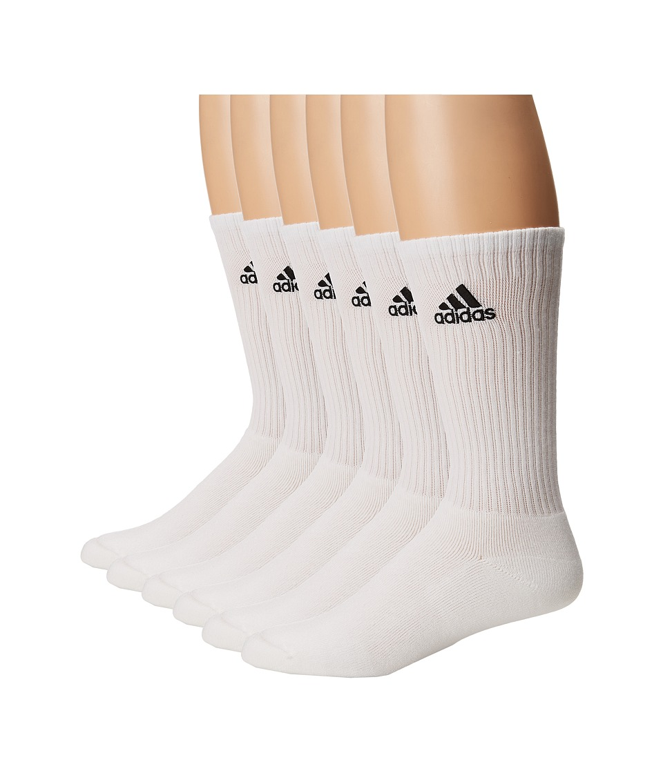 adidas - Team 6-Pack Crew (White/Black) Men's Crew Cut Socks Shoes