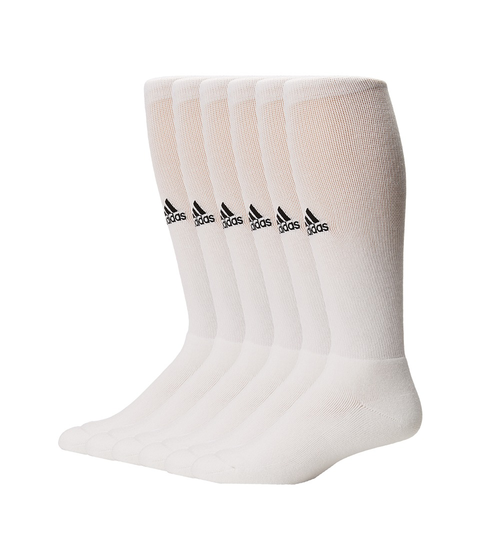 adidas - Team 6-Pack (White/Black) Men's Crew Cut Socks Shoes