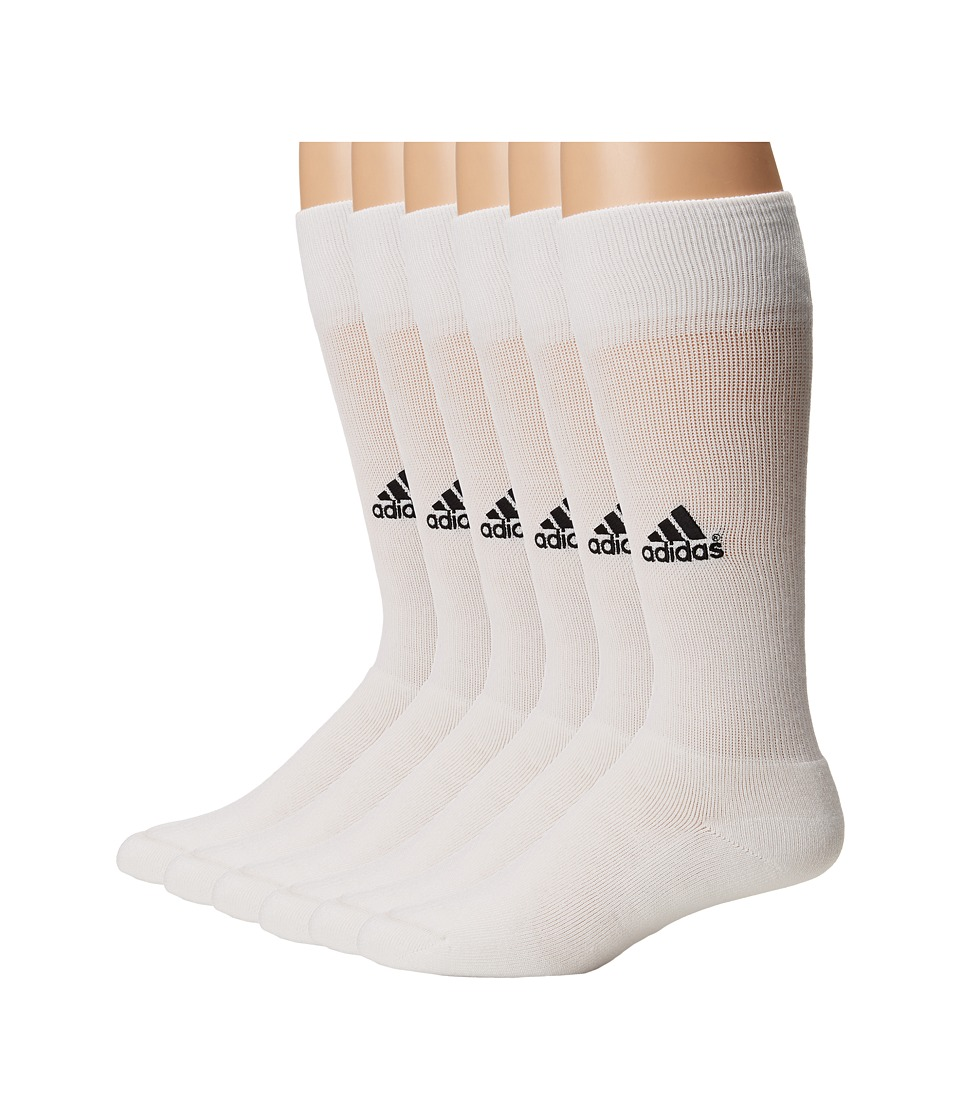 adidas - Team 6-Pack (White/Black 1) Men's Crew Cut Socks Shoes
