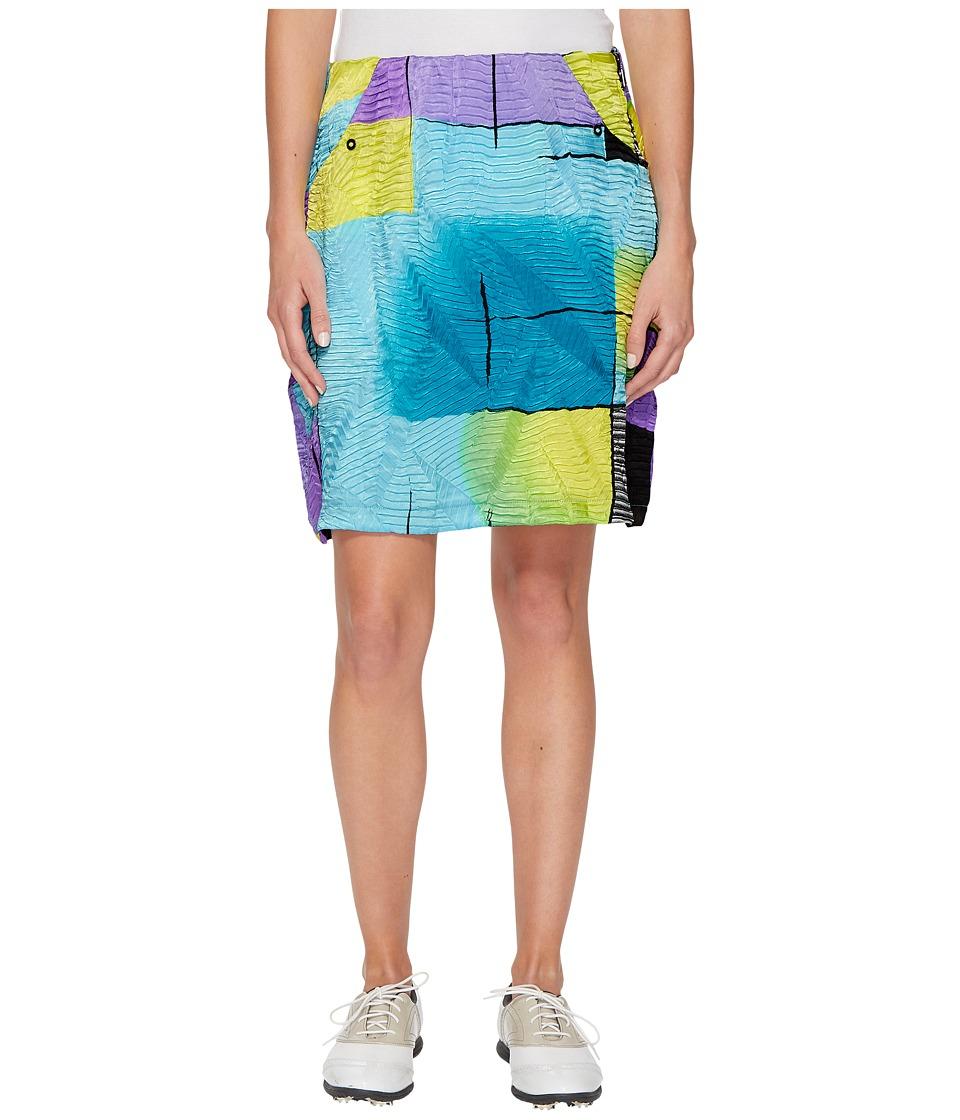 Jamie Sadock Glow Print Crunchy Fabric Side Zip and Button 18 in. Skort (Violetta) Women