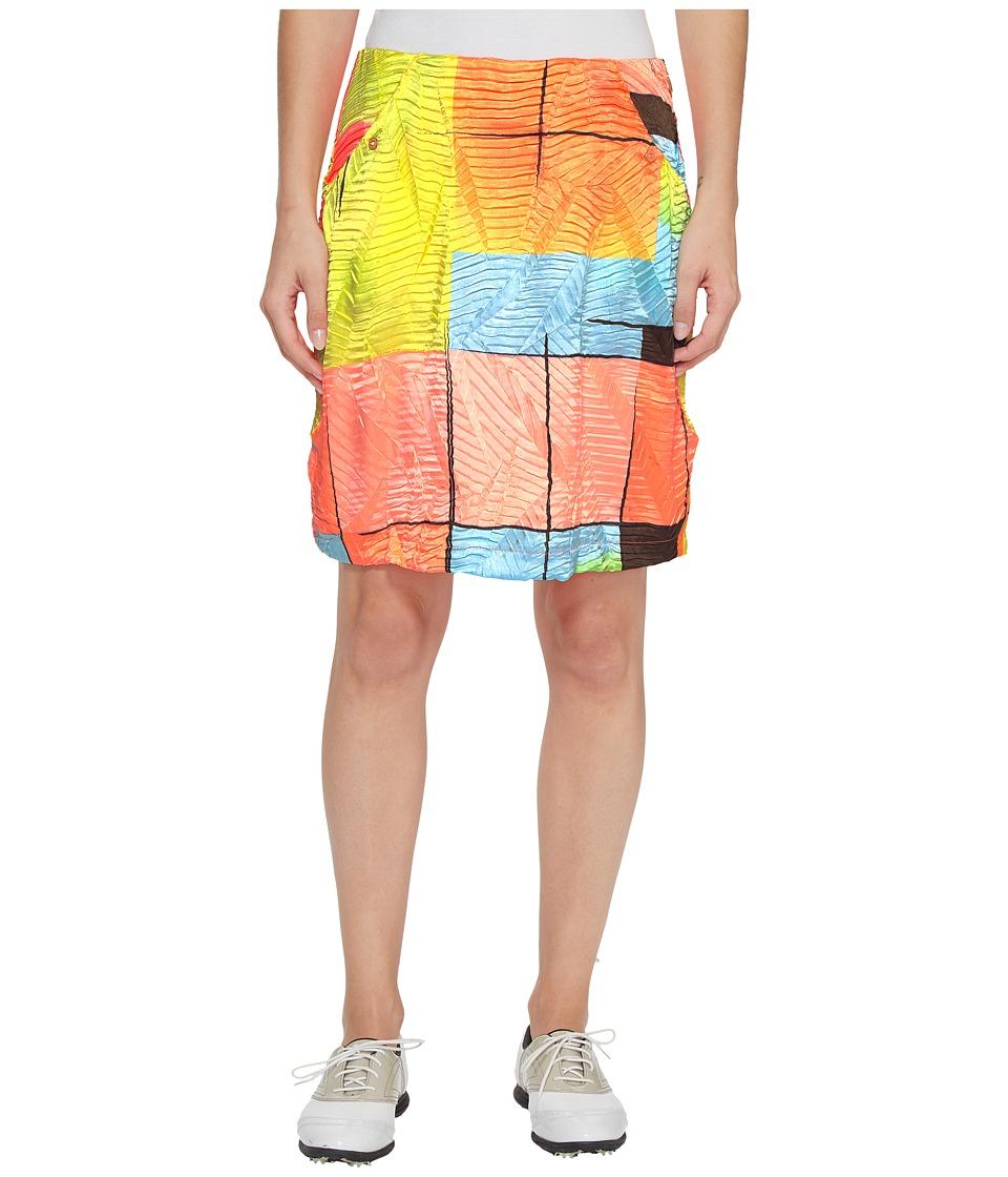 Jamie Sadock Glow Print Crunchy Fabric Side Zip and Button 18 in. Skort (Radiance) Women