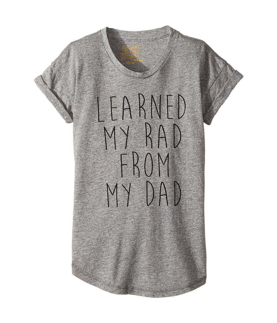 The Original Retro Brand Kids - Learned My Rad From My Dad Short Sleeve Mocktwist Crew Neck Tee (Big Kids) (Mocktwist Heather Grey) Girl's T Shirt