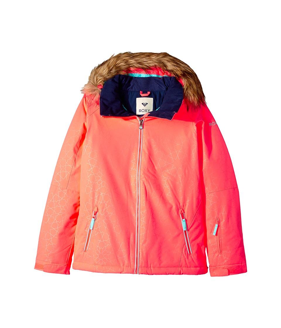Roxy Kids American Pie Solid Jacket (Big Kids) (Neon Grapefruit/Gana Embossed) Girl