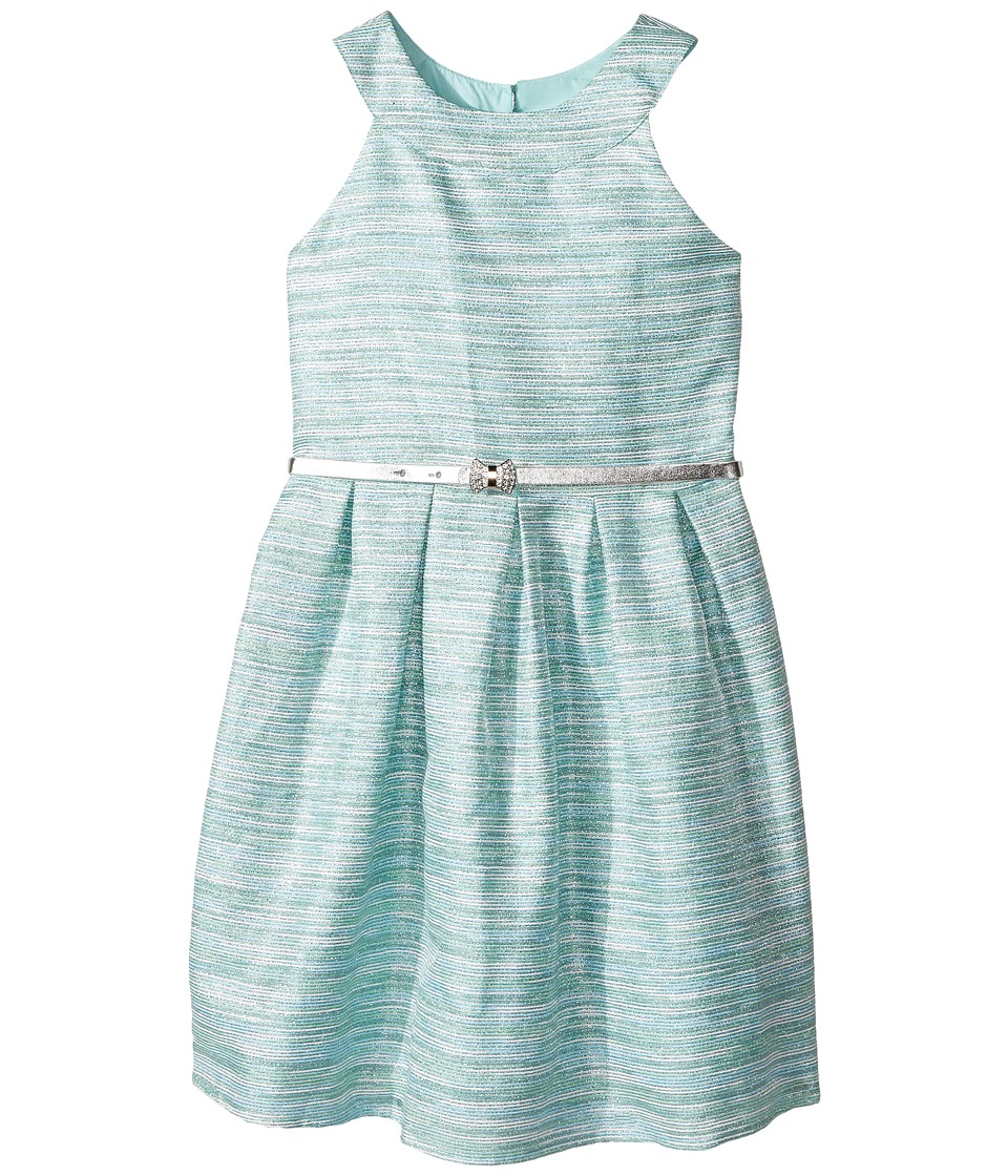 Us Angels - Sleeveless Ringer Dress with Box Pleat Skirt and Belt (Big Kids) (Green) Girl's Dress