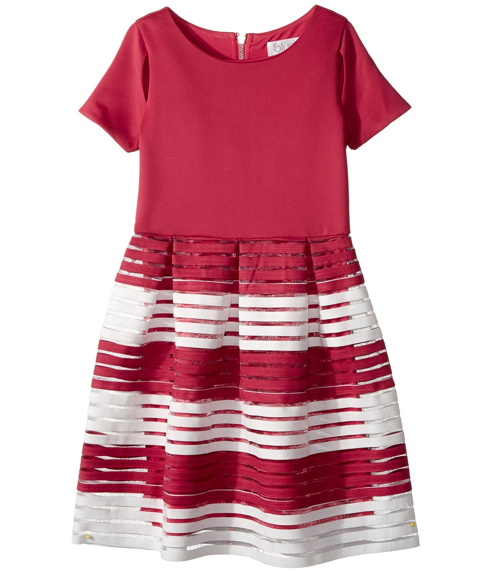 Us Angels - Short Sleeve Cut Out Dress with Full Skirt (Big Kids) (Pomegranate) Girl's Dress