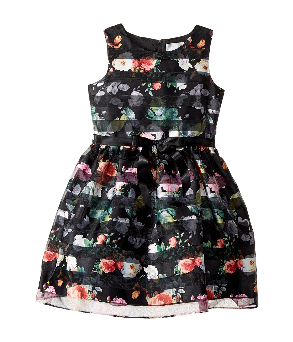 Us Angels - Sleeveless Organza Striped Floral Dress with Full Skirt (Big Kids) (Black) Girl's Dress