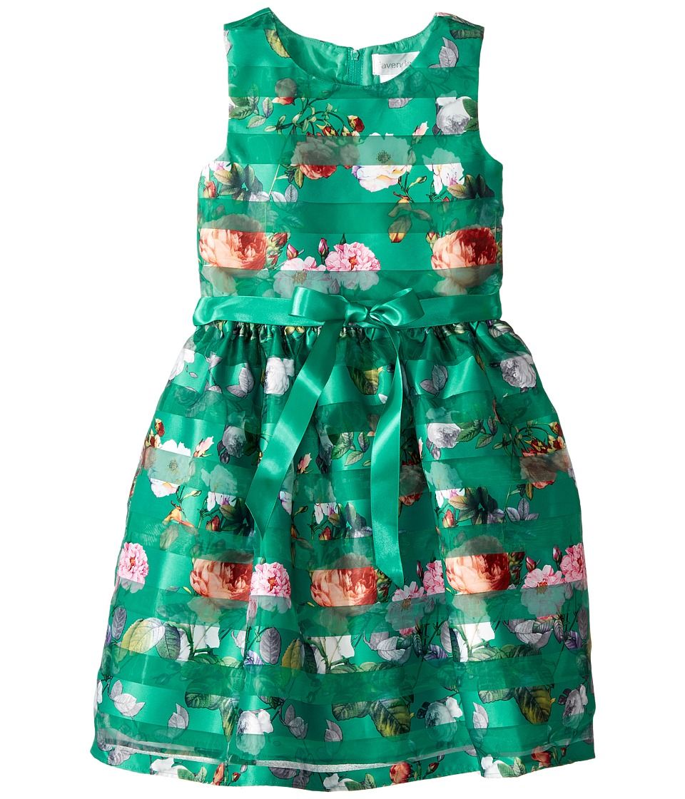 Us Angels - Sleeveless Organza Striped Floral Dress with Full Skirt (Big Kids) (Jade) Girl's Dress