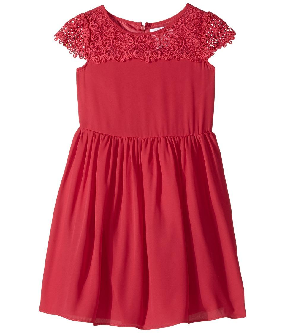 Us Angels - Scalloped Cap Sleeve with Full Skirt Dress (Toddler/Little Kids) (Pomegranate) Girl's Dress