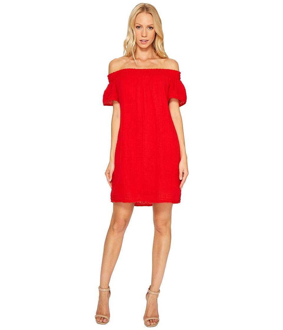 Michael Stars - Double Gauze Smocked Off Shoulder Dress (Salsa) Women's Dress