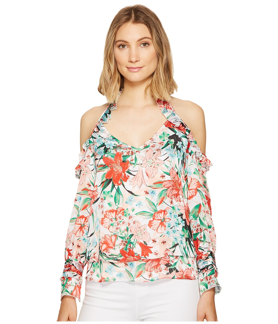 XOXO - Printed Off the Shoulder Ruffle Top (Multi) Women's Clothing