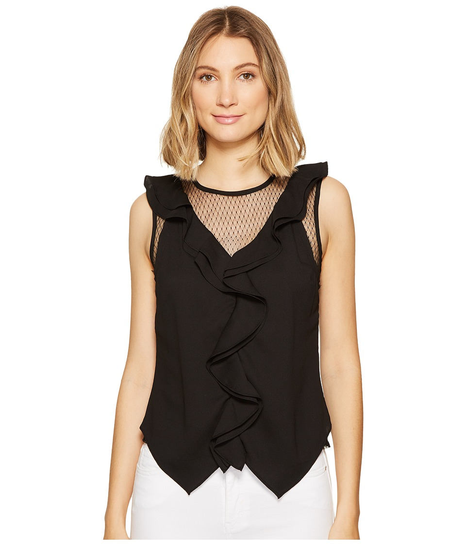 XOXO - V-Neck Ruffle Top (Black) Women's Clothing