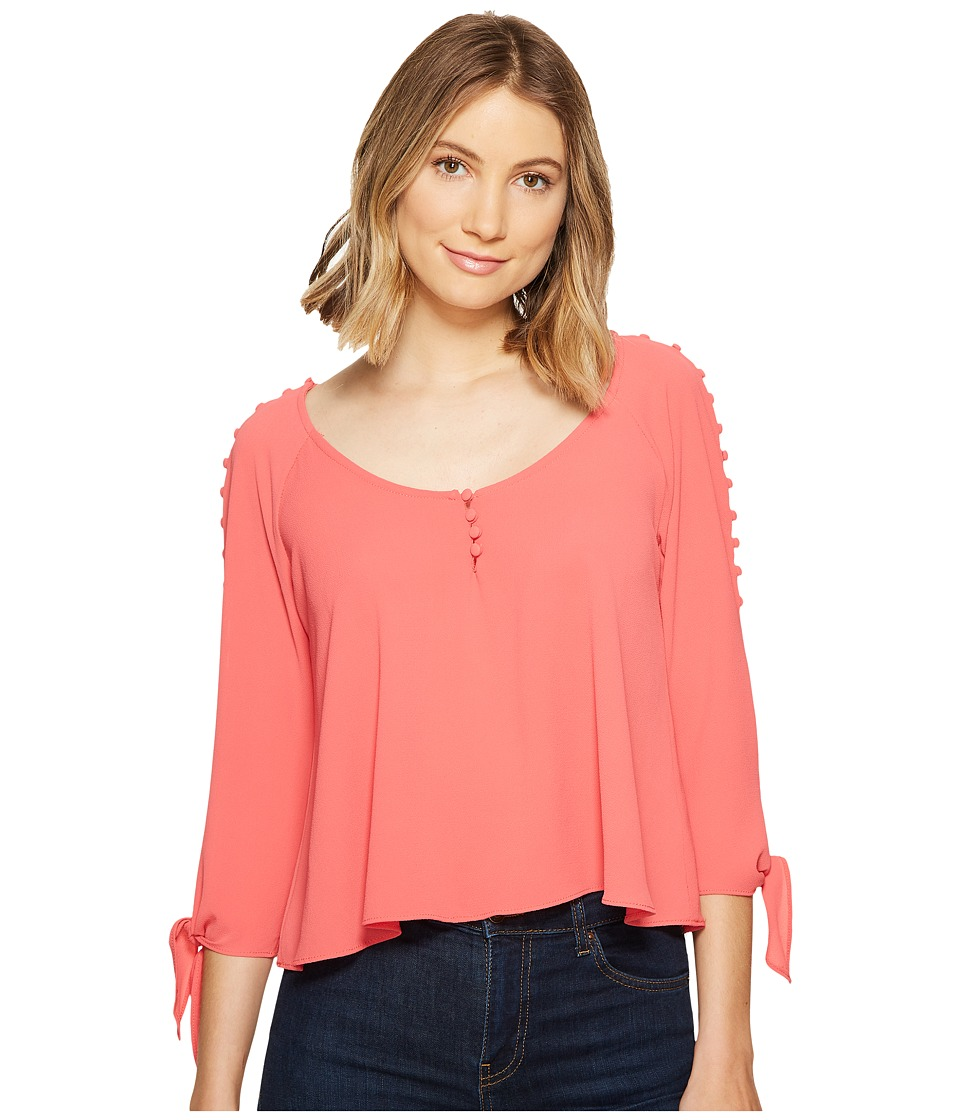 XOXO - Button Up Cold Shoulder Top (Salmon) Women's Clothing