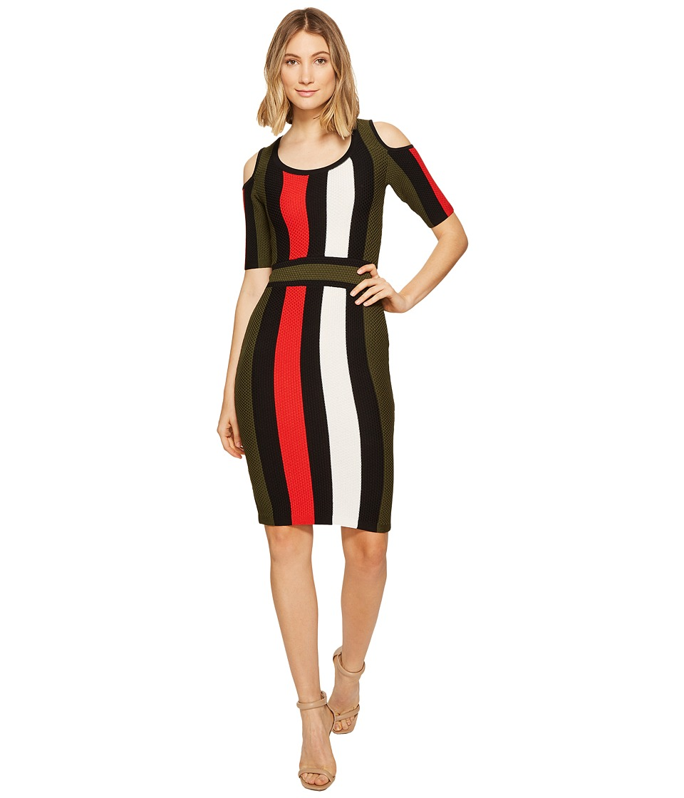 XOXO - Multicolor Stripe Stitch Dress (Olive Multi) Women's Dress