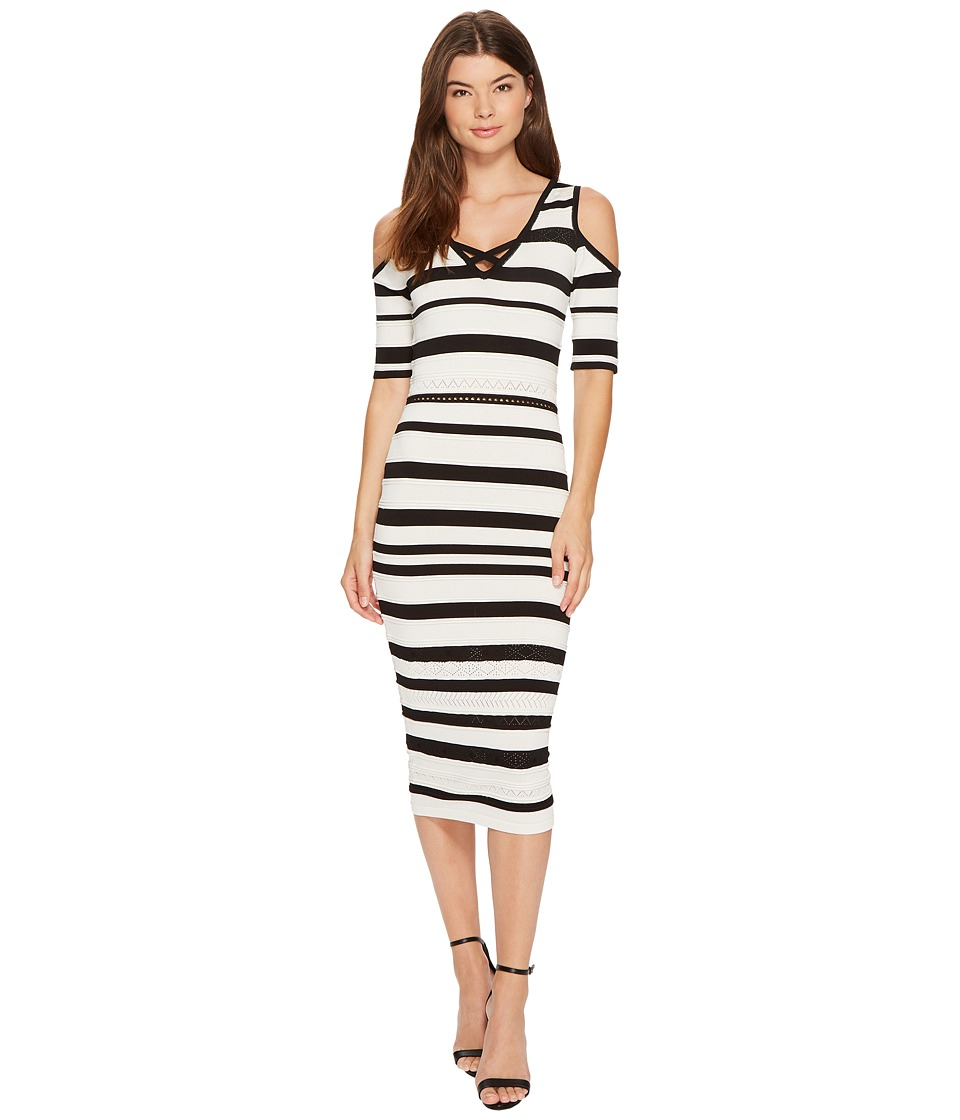 XOXO - Pointelle Stitch Stripe Midi Dress (Ivory/Black) Women's Dress