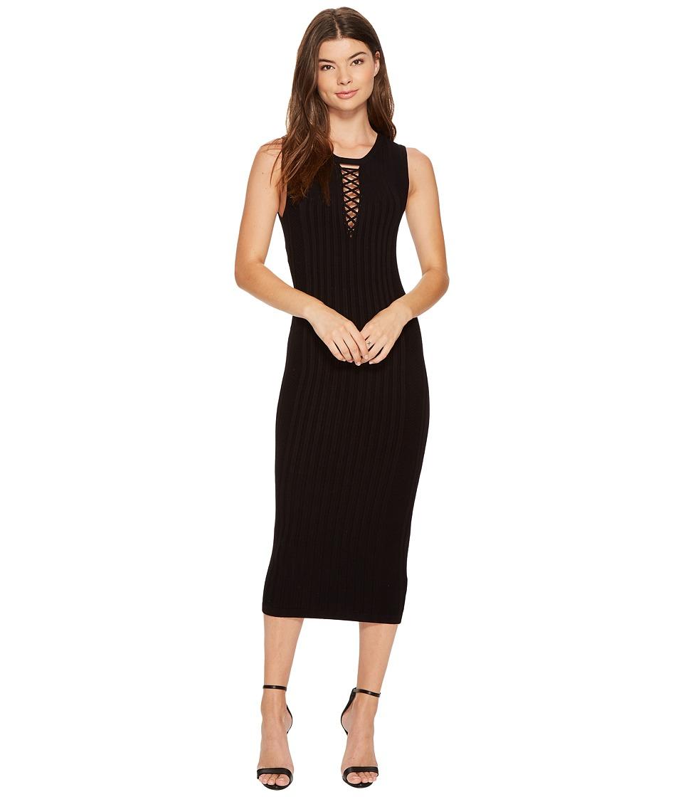 XOXO - Rib Stitch Lace-Up Midi Dress (Black) Women's Dress