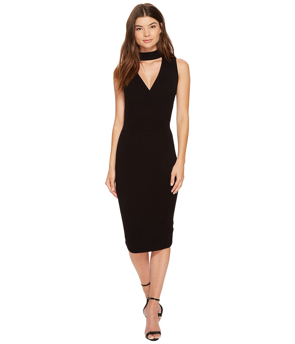 XOXO - Rib Wrap Front Mock Neck Midi Dress (Black) Women's Dress