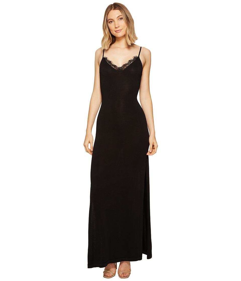 XOXO - Lace Trim Long Sweater Dress (Black) Women's Dress