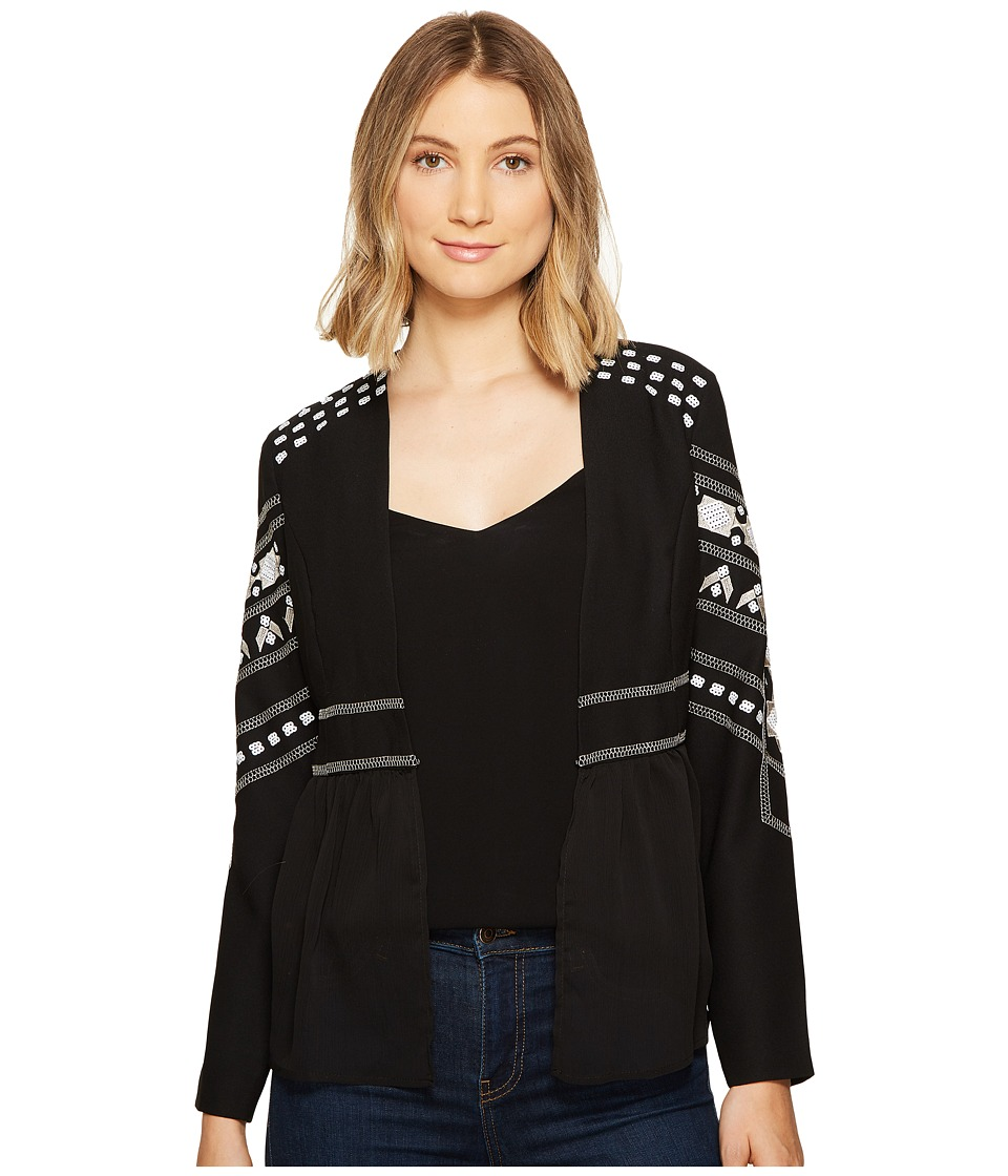 XOXO - Long Sleeve Beaded Jacket (Black) Women's Coat