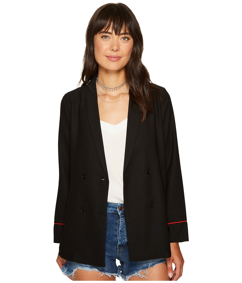 XOXO - Embroidered Long Sleeve Double Breasted Jacket (Black) Women's Coat