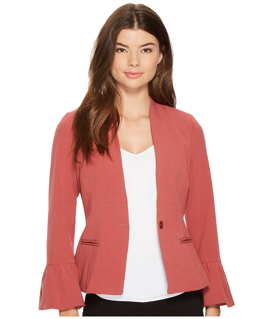 XOXO - Ruffle Sleeve Blazer (Rose) Women's Jacket