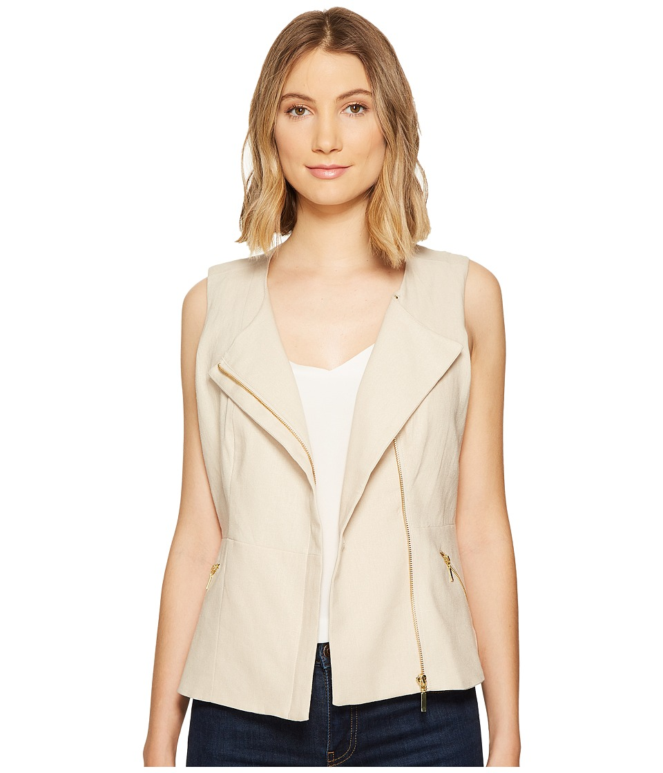 XOXO - Linen Zip Front Vest (Natural) Women's Vest