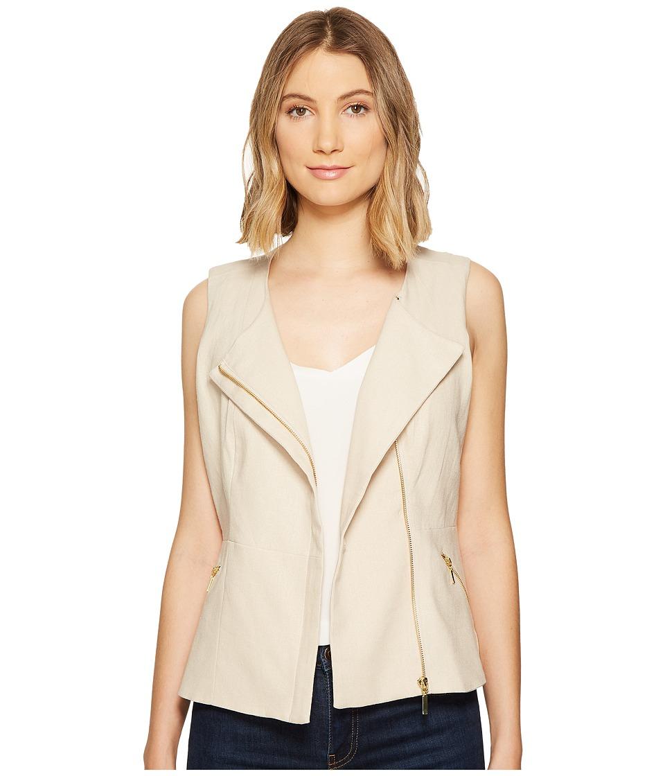 XOXO - Linen Zip Front Vest (Natural) Women's Vest