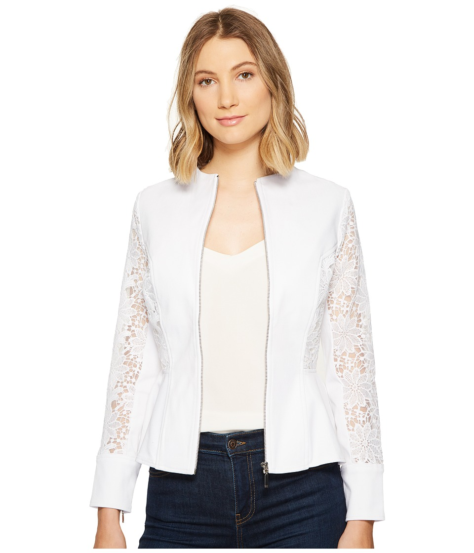 XOXO - Lace Peplum Zip Jacket (White) Women's Coat