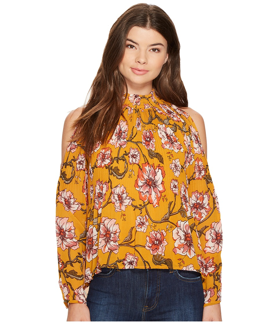 XOXO - Printed Pleated Cold Shoulder Blouse (Gold Multi) Women's Blouse