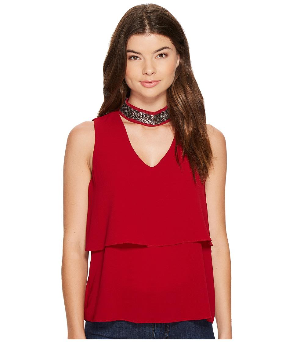XOXO - Embellished Gigi Neck Tank Top (Cranberry) Women's Sleeveless