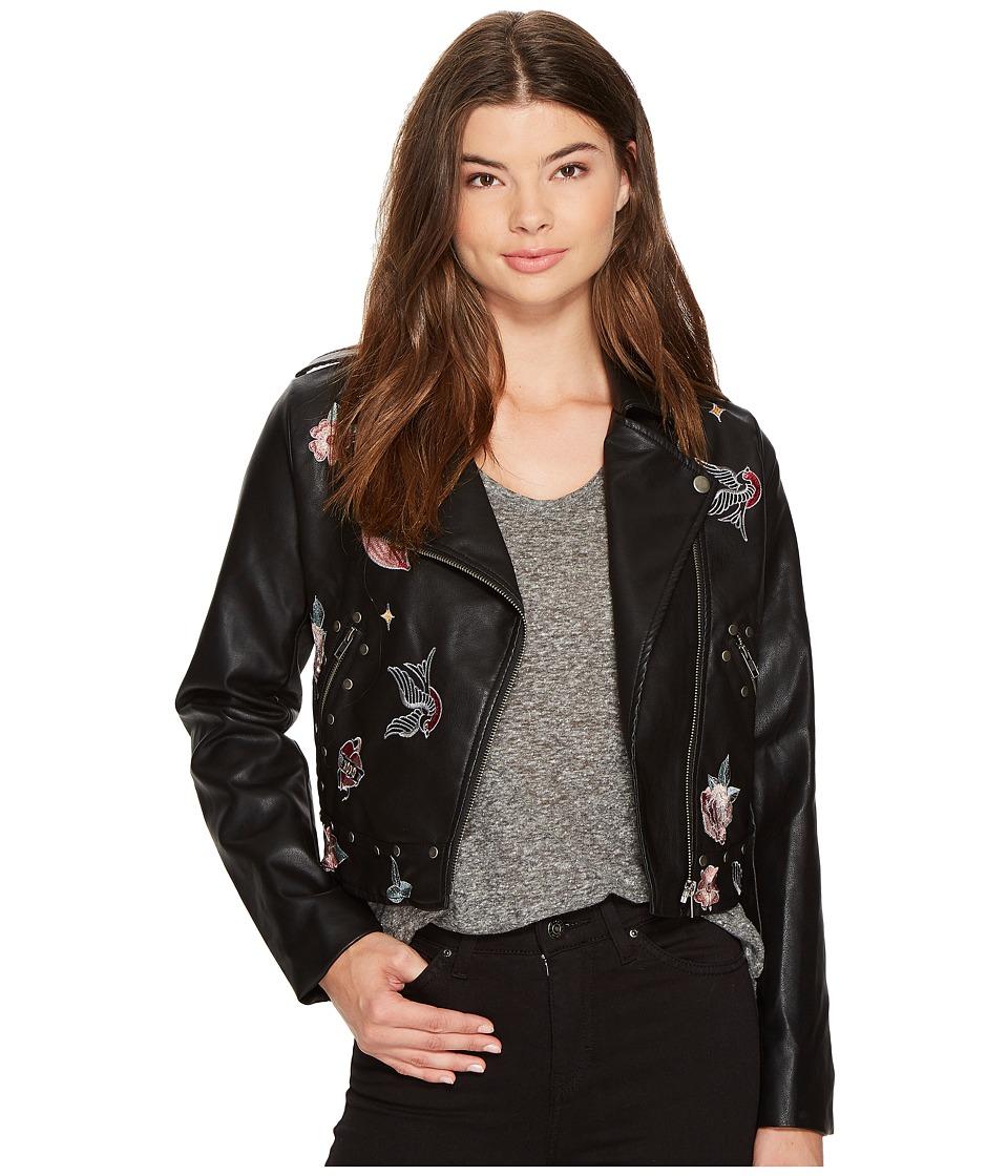 XOXO - Cropped Moto Jacket (Black) Women's Coat