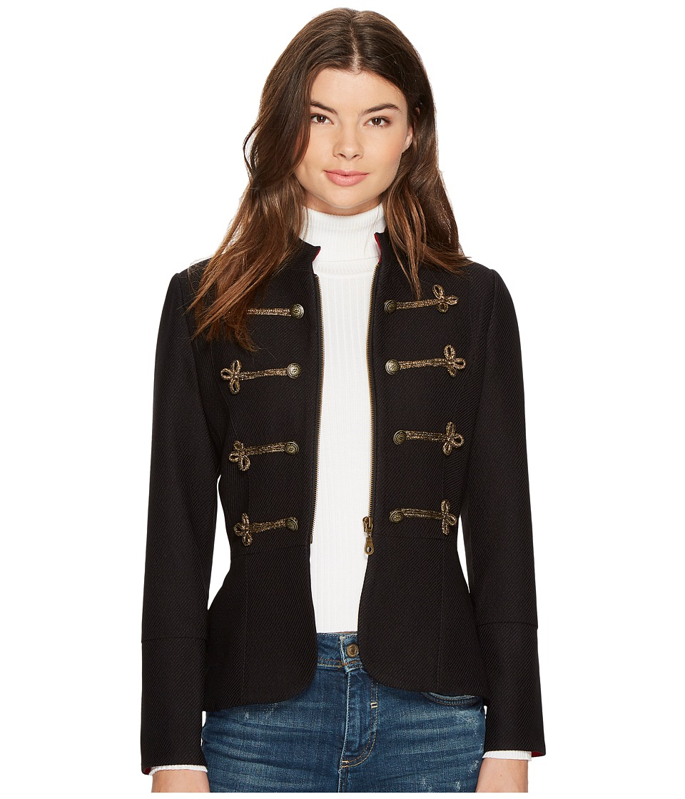 XOXO - Frogging Peplum Jacket (Black Gold) Women's Coat